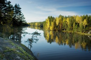 Fall morning in Kaitalampi lake in Espoo, Finland
